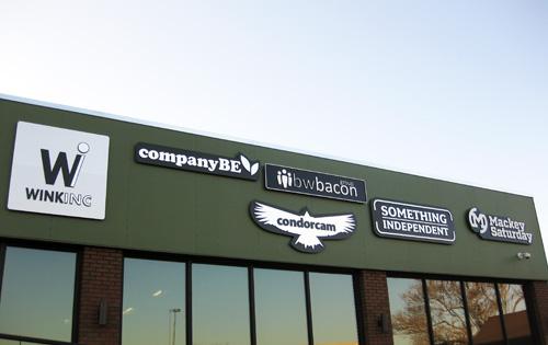 bwbacon logo on battery building in denver