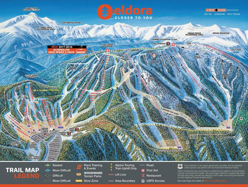 Eldora Ski Map - Skiing in Colorado